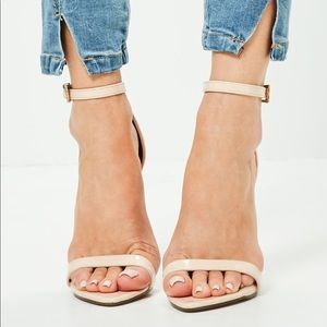 MISSGUIDED 'Barely There' Nude Heels
